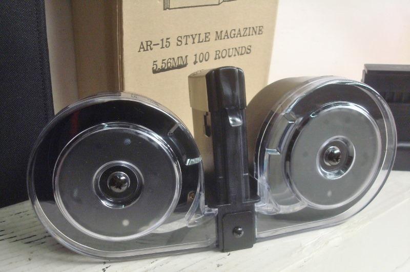 AR15 RWB -  223 or 5 56 100 round Black Drum Magazine [RWB556blk100