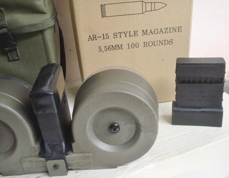 AR15 RWB -  223 or 5 56 100 round Green Drum Magazine